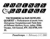 Comings and Goings 1991