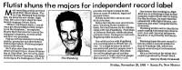 Flutist Shuns the Majors 1985