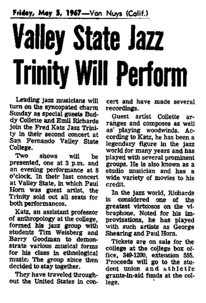 Valley State Jazz Trinity 1968