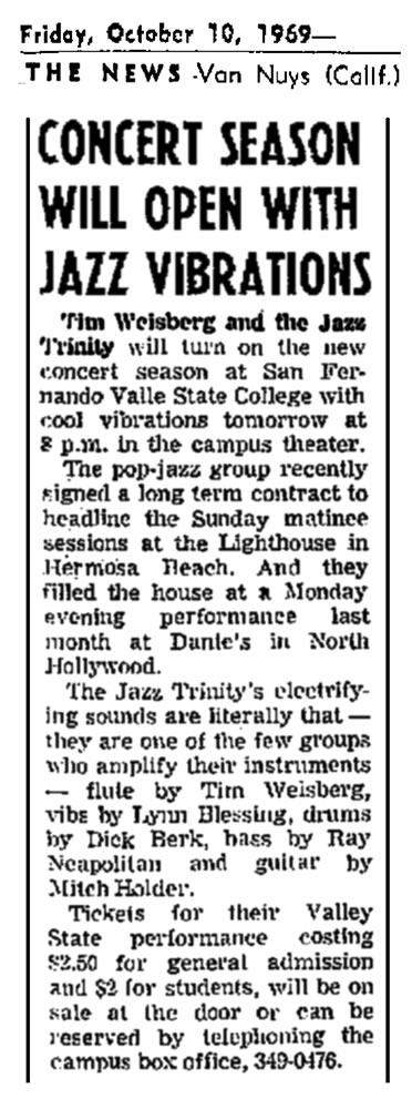 Concert Season Opens Jazz Vibrations 1969