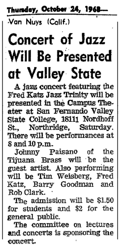 Concert of Jazz Music 1968