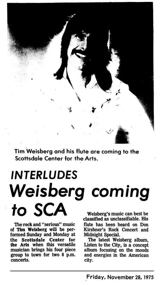 Tim Weisberg Coming to Scottsdale