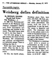 Weisberg Defies Definition 1975
