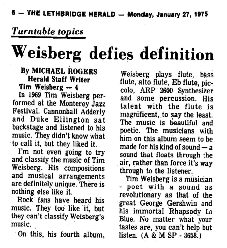 Weisberg Defies Definition 1975