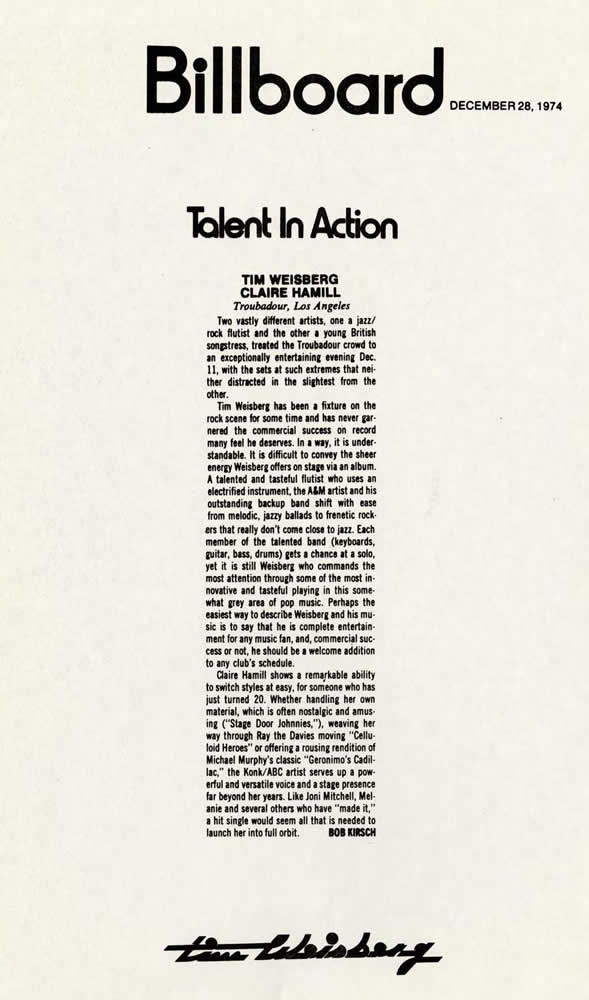 Billboard, Talent in Action, 1974