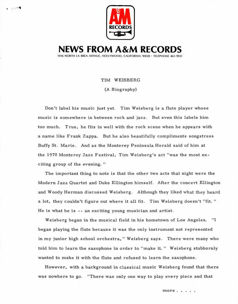 News from A&M Records (page 1), 1970s