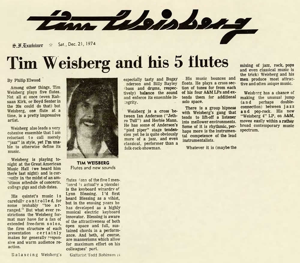 Tim Weisberg and His 5 Flutes, 1974
