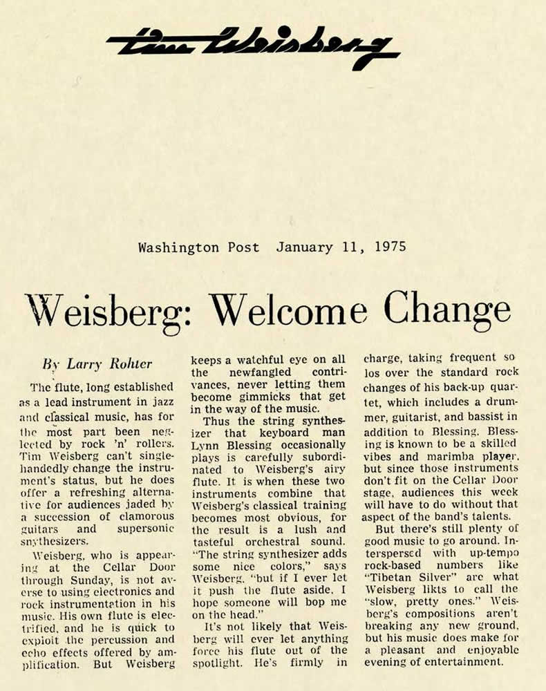 Weisberg, Welcome Change, 1975